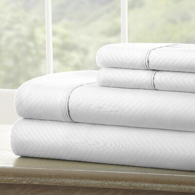 Dollard Double-Brushed Chevron Sheet Set Color: White, Size: Queen
