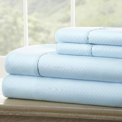 Dollard Double-Brushed Chevron Sheet Set Color: Aqua, Size: Twin