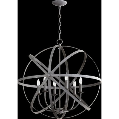 Dian 6-Light Candle-Style Chandelier Finish: Zinc