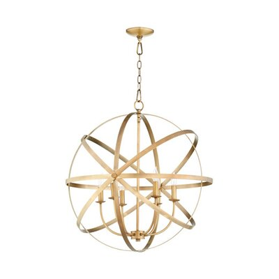 Dian 6-Light Metal Candle-Style Chandelier Finish: Aged Brass