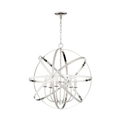 Lucas 6-Light Candle-Style Chandelier Finish: Polished Nickel