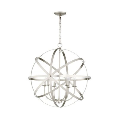Lucas 6-Light Candle-Style Chandelier Finish: Satin Nickel