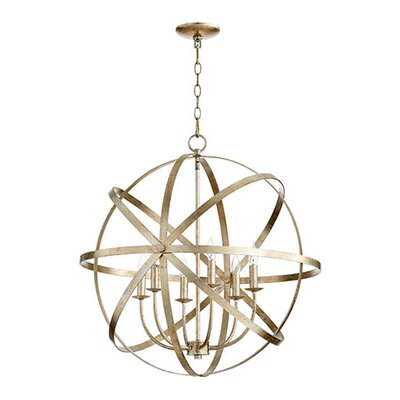 Lucas 6-Light Candle-Style Chandelier Finish: Aged Silver Leaf