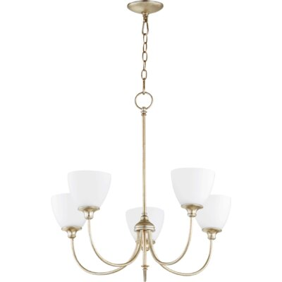 Lucas 5-Light Shaded Chandelier Finish: Aged Silver Leaf