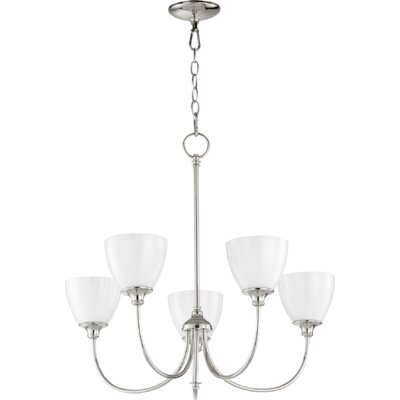 Lucas 5-Light Shaded Chandelier Finish: Polished Nickel