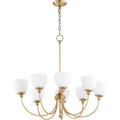 Lucas 8-Light Shaded Chandelier Finish: Aged Brass