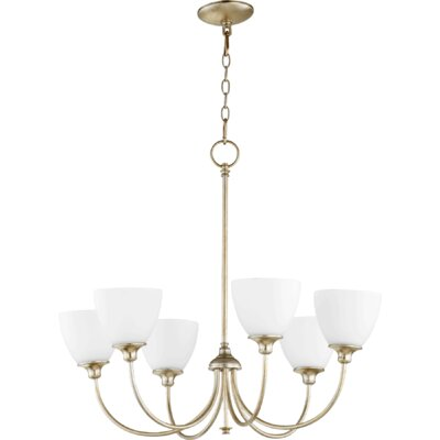 Lucas 6-Light Shaded Chandelier Finish: Aged Silver Leaf