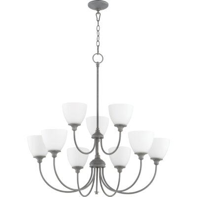 Lucas 9-Light Shaded Chandelier Finish: Zinc