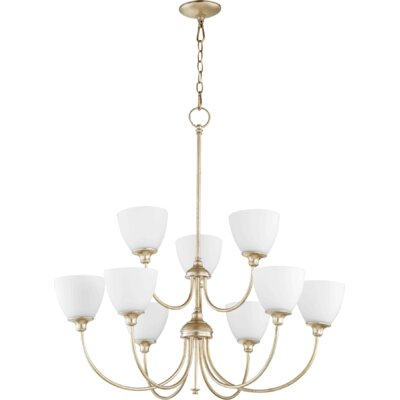 Dian 9-Light Shaded Chandelier Finish: Aged Silver Leaf