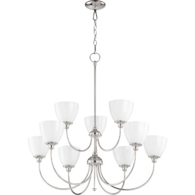 Dian 9-Light Shaded Chandelier Finish: Polished Nickel