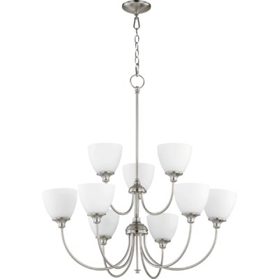 Lucas 9-Light Shaded Chandelier Finish: Satin Nickel