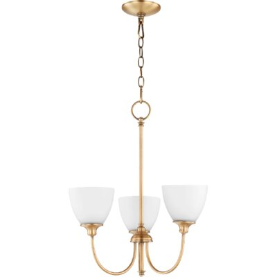 Dian 3-Light Shaded Chandelier Finish: Aged Brass