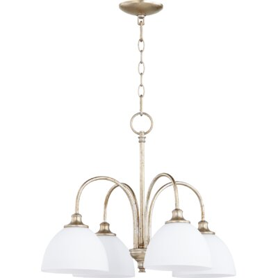 Lucas 4-Light Shaded Chandelier Finish: Aged Silver Leaf