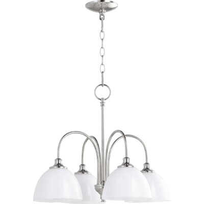 Lucas 4-Light Shaded Chandelier Finish: Polished Nickel