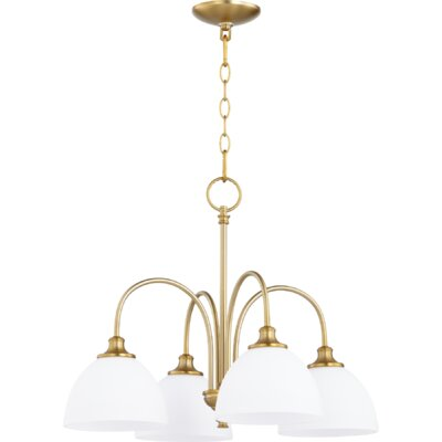 Dian 4-Light Shaded Chandelier Finish: Aged Brass