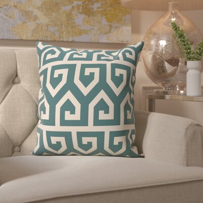 Benedito Geometric Print Outdoor Throw Pillow Size: 18 H x 18 W, Color: Teal