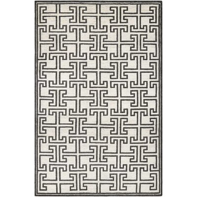 Bridlington Hand-Crafted Off White/Smoke Area Rug Rug Size: Rectangle 36 x 66