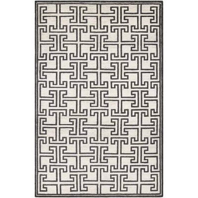 Bridlington Hand-Crafted Off White/Smoke Area Rug Rug Size: Rectangle 95 x 137