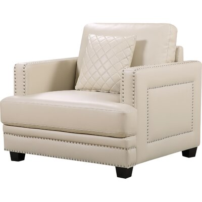 Rigg Nailhead Club chair Fabric: Beige