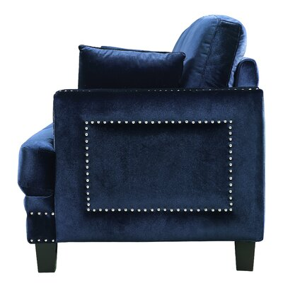 Dia Nailhead Armchair Fabric: Navy