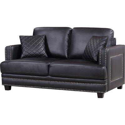 Dia Modern Nailhead Loveseat Upholstery: Black