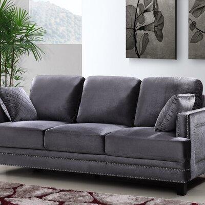 Dia Modern Nailhead Sofa Upholstery: Gray