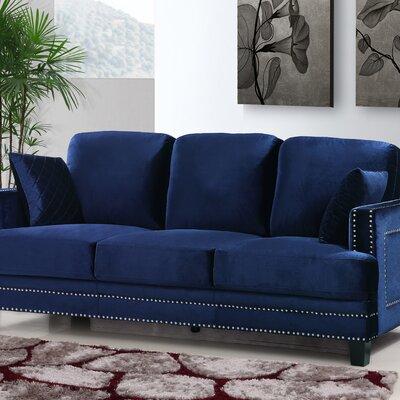 Dia Modern Nailhead Sofa Upholstery: Navy