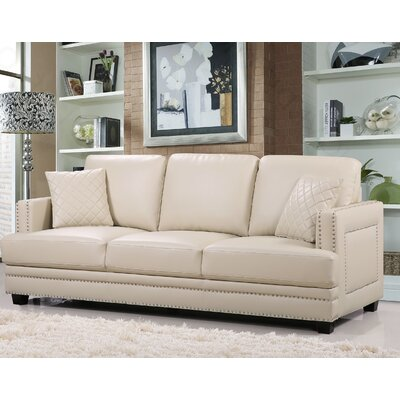 Dia Nailhead Sofa Upholstery: Beige