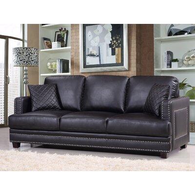 Dia Nailhead Sofa Upholstery: Black