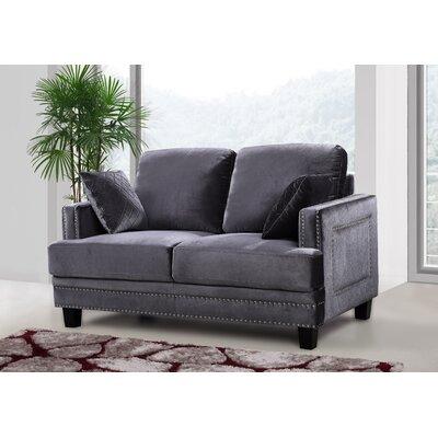 Dia Nailhead Loveseat Upholstery: Gray