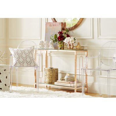Riggio 2 Tier Console Table Finish: Rose Gold