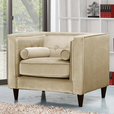 Roberta Velvet Club Chair Upholstery Color: Beige
