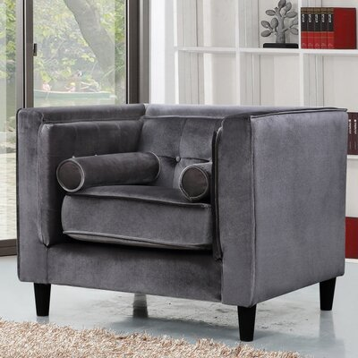 Roberta Velvet Club Chair Upholstery: Grey