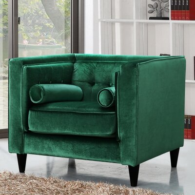 Roberta Velvet Club Chair Upholstery Color: Green