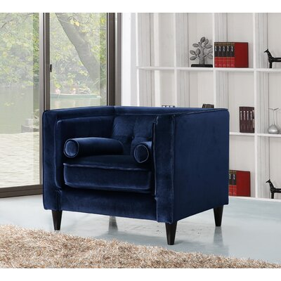 Roberta Velvet Club Chair Upholstery Color: Navy