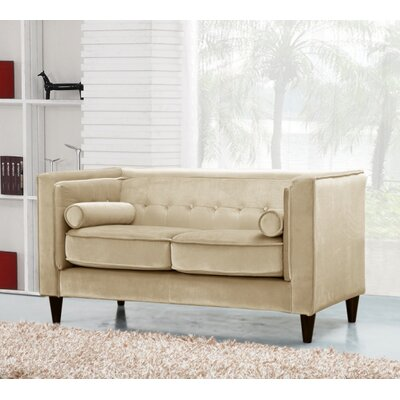 Roberta Chesterfield Loveseat Upholstery: Beige