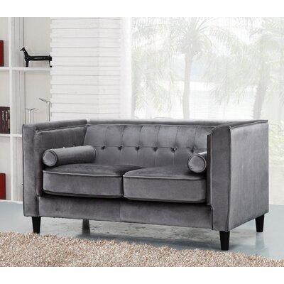 Riggle Velvet Loveseat Upholstery: Grey