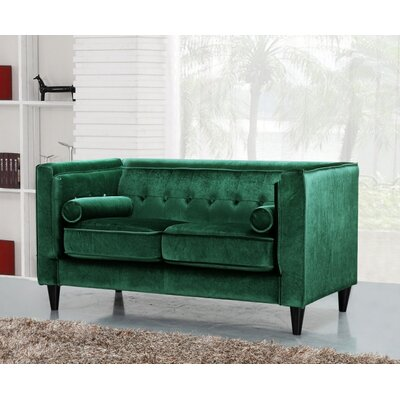Roberta Velvet Chesterfield Loveseat Upholstery: Green
