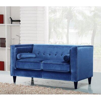 Riggle Velvet Loveseat Upholstery: Light Blue