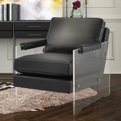 Dore Eco Leather Armchair Color: Black
