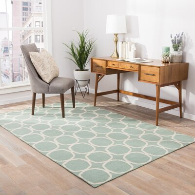 Calamus Hand-Woven Aqua Foam Area Rug Rug Size: Rectangle 36 x 56