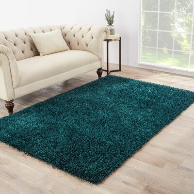 Woodside Hand Woven Teal Blue Area Rug Rug Size: Rectangle 76 x 96