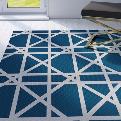Durant Trellis Geometric Print Teal Indoor/Outdoor Area Rug Rug Size: Rectangle 3 x 5