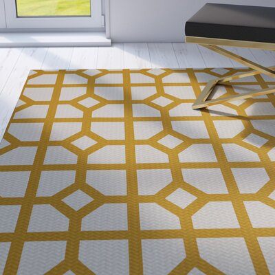 Fernwood Dont Fret Geometric Print Gold Indoor/Outdoor Area Rug Rug Size: 4 x 6