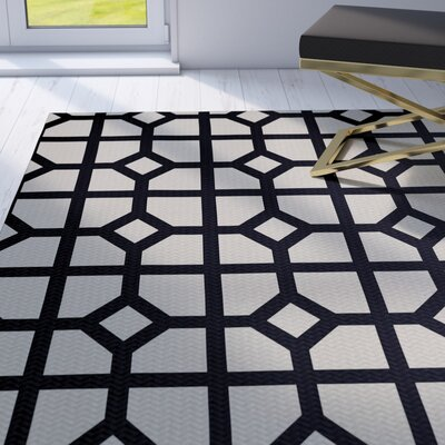 Fernwood Dont Fret Geometric Print Navy Blue Indoor/Outdoor Area Rug Rug Size: 2 x 3