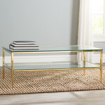 Genowefa Open Shelf Coffee Table Color: Gold