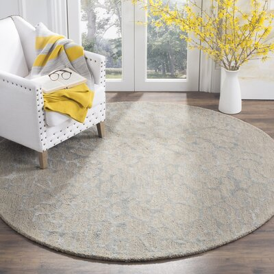 Thornton Hand-Woven Gray Area Rug Rug Size: Round 6