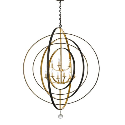 Fitzhugh 9-Light Foyer Pendant Finish: English Bronze/Antique Gold
