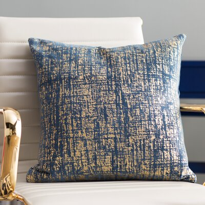 Robertville Cotton Velvet Throw Pillow Color: Blue