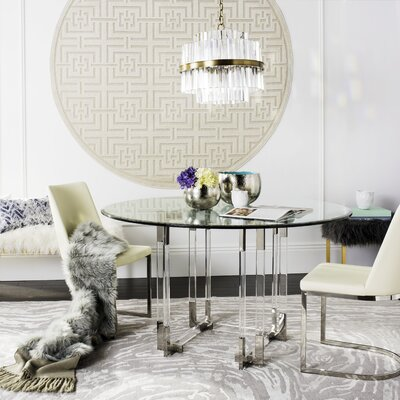 Ortega Dining Table Finish: Clear/Silver